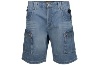 Kam Jeanswear Mens Denim Cargo Shorts (Mid Blue) (56in)