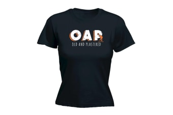 123T Funny Tee - Oap Old And Plastered - (Small Black Womens T Shirt)