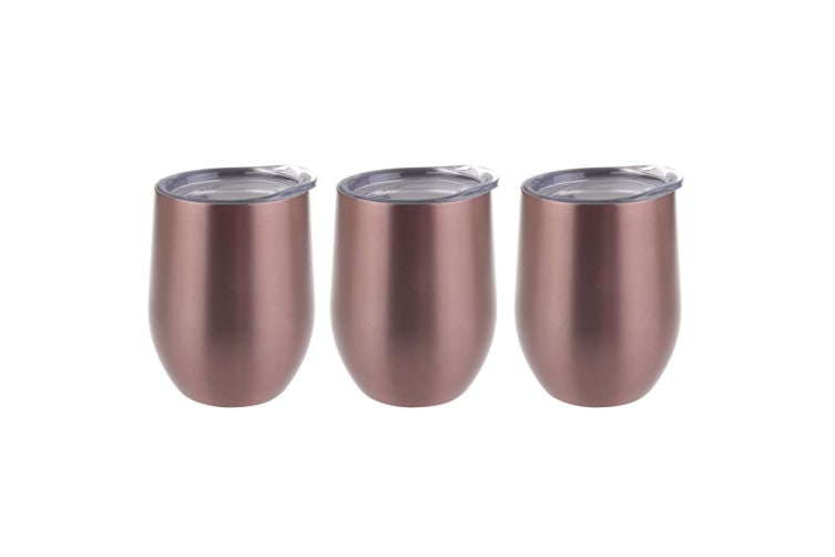 3PK Oasis 300ml Stainless Steel Double Wall Insulated Wine Drink Tumbler Rose GD