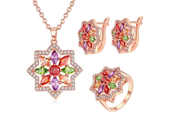 Bohemian Style Colorful And Star Jewelry Set Rose Gold With Zircon Ring Size 8