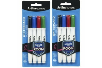 2x 4pc Artline Supreme Whiteboard Markers Writing Pens Assorted Standard Colours