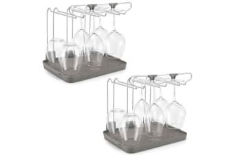 2x Polder Wine Glass Drying Rack Holder Stand Kitchen Storage Organiser Grey