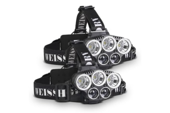 Weisshorn Set of 2 6 Modes LED Head Light Flash Torch Headlamp