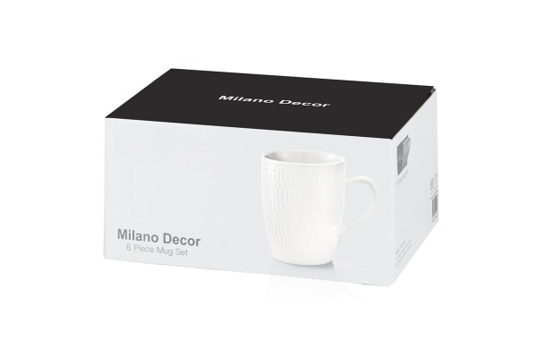 Milano Decor Stoneware 6 Pcs Mug Set  - White