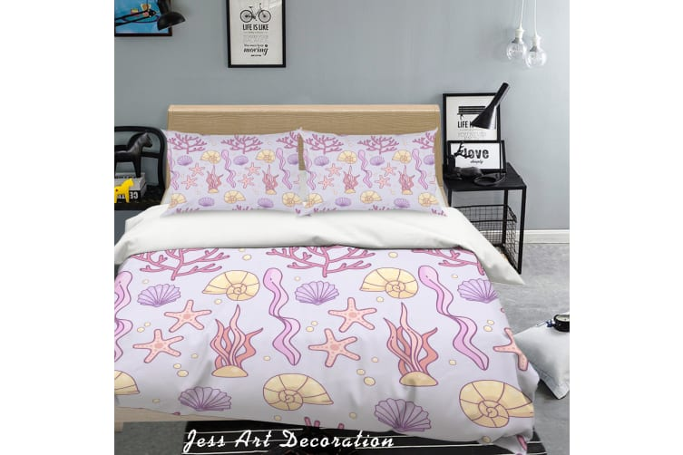 3D Purple Coral Starfish Quilt Cover Set Bedding Set Pillowcases 48-King