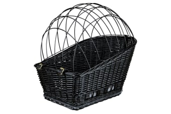 Trixie Plastic Coated Bicycle Basket With Lattice (Black)