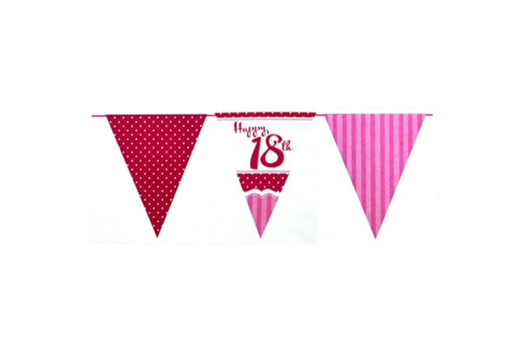 Creative Party Perfectly Pink Happy 18th Birthday Bunting (Pink/Red/White) (One Size)