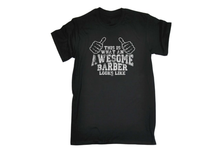 123T Funny Tee - Awesome Barber - (XX-Large Black Mens T Shirt)
