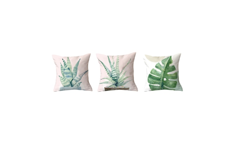 3Pcs Plant Printing Decorative Upholstery Cushion Cover Cozy Throw Pillow Cases Green 3Pcs