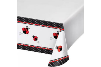 Creative Converting 108in Ladybird Printed Plastic Tablecover (White/Red/Black)