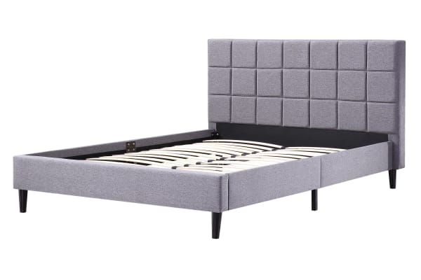 Queen Linen Fabric Deluxe Bed Frame Grey