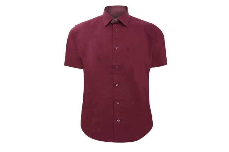 Russell Collection Mens Short Sleeve Easy Care Fitted Shirt (Port) (14.5)