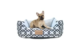 Paws & Claws 55cm Waterproof Fremantle Walled Oxford Pets/Dogs/Cats Bed WHT/BLK