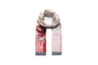 Intrigue Womens/Ladies Satin Effect Floral Print Scarf (Grey/Red)