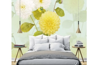 3D Yellow Flower Leaf 1336 Self-adhesive Vinyl, XXXL 416cm x 254cm (WxH)(164''x100'')