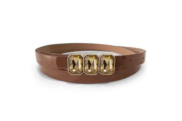 Leather Belt With Crystals White-Leather/Brown