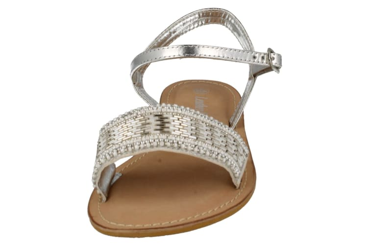Spot On Womens/Ladies Leather Collection Beaded Sandals (Silver) (6 UK)