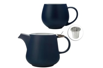 Maxwell & Williams Tint Porcelain Snug Mug 450ml & Teapot 600ml w Infuser Navy