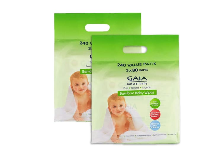 Gaia 480PK Natural/Organic Bamboo Baby/Infant Wipes Lightly Scent/Alcohol-Free