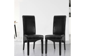 Artiss 2x Dining Chairs PU Leather Pad High Back Chair Wood Kitchen Cafe Black