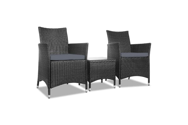 3 Piece Outdoor Chair And Table Set (Black)