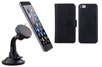 TODO Magnetic Quick Snap Car Suction Mount Leather Credit Card Case Iphone 6+ Plus - Black