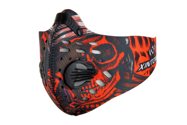 Outdoor Sports Activated Carbon Air Filter Half Face Mask Red