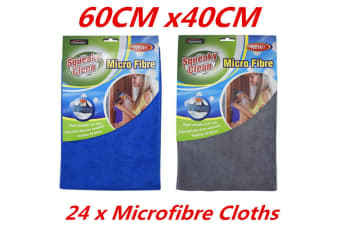 24 X MICROFIBER KITCHEN CAR CLEANING CLOTH BLUE GREY HOME HOUSEKEEPING CLOTHS FD