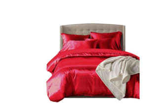 Dreamz Satin Duvet Cover Pillowcases Set BURGUNDY - Queen
