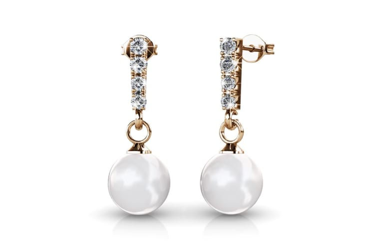 Boxed 2 Pairs Earrings Set Embellished with Swarovski Crystal Pearls