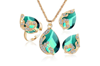 3Pcs Droplet-Type Pendant Necklace Earring Suit - Green Green