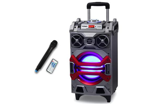 TODO Portable Bluetooth Super Bass PA Speaker Wireless Karaoke Mic and LED Lights