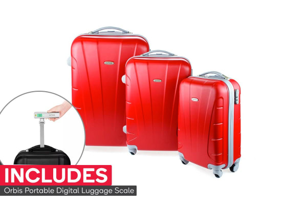 Orbis 3 Piece Hardside Spinner Luggage Set (Strawberry) with Digital Luggage Scale