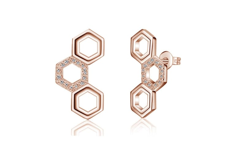 Honeycomb Earrings-Rose Gold/Clear
