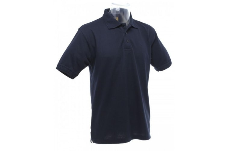 UCC 50/50 Mens Heavyweight Plain Pique Short Sleeve Polo Shirt (Navy Blue) (XS)