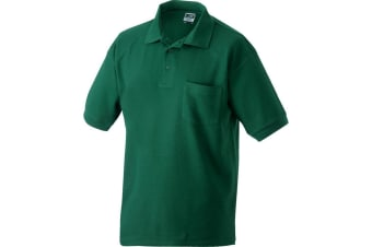 James and Nicholson Unisex Polo Pique Pocket Top (Dark Green) (L)