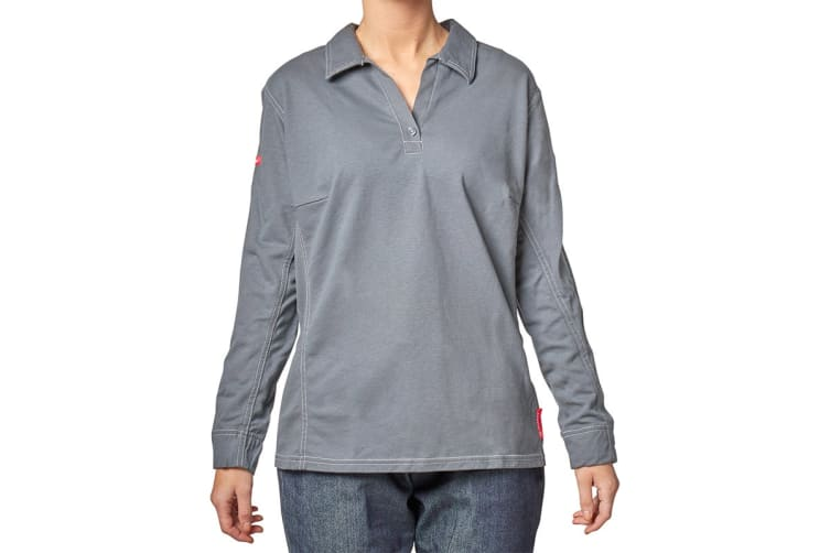 Hard Yakka Women's Bulwark iQ Flame Resistant Long Sleeve Polo (Charcoal, Size 4XL)