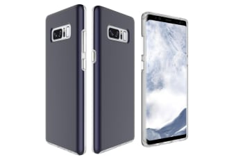 For Samsung Galaxy Note 8 Back Case Chrome Plated Buttons Protective Cover Navy