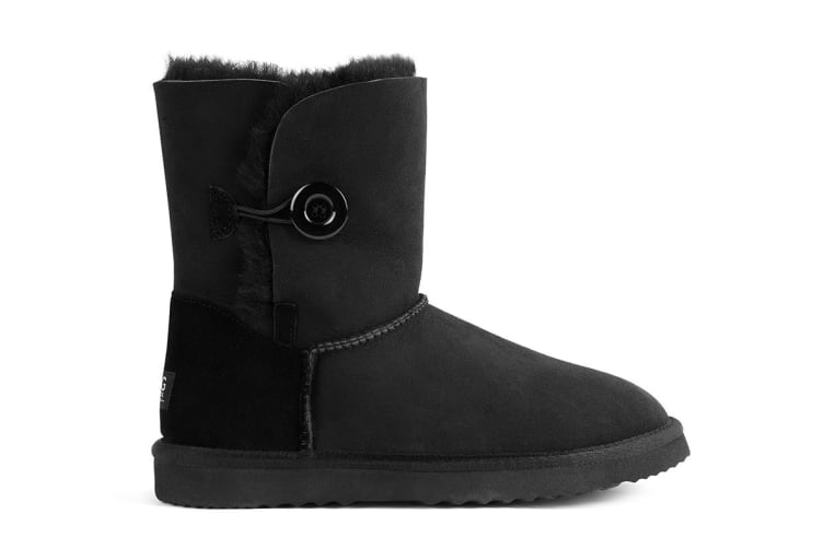 Outback Ugg Boots Short Button - Premium Sheepskin (Black, 6M / 7W US)