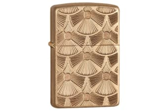Zippo Fanned Discs Genuine Armor Tumbled Brass Finish Pocket Lighter Windproof