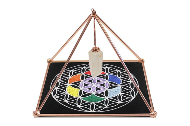 Copper Energizer Pyramid w/ Point and mat Energy Healing Meditation Crystal 15cm