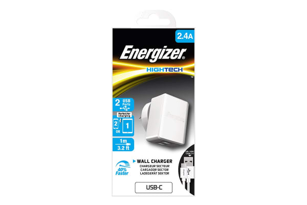 Energizer Hightech 2.4A 2-Port USB Wall Charger - White