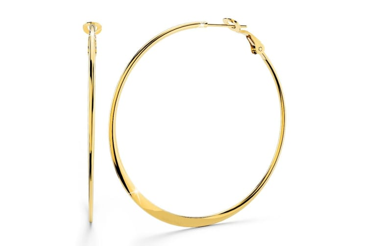 Boxed 3pr Semi Flattened Gold Hoop Earrings Set