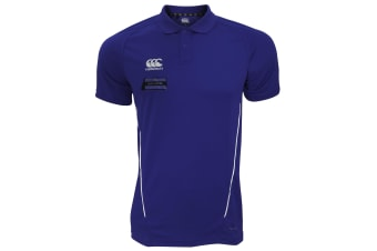 Canterbury Mens Team Dry Moisture Wicking Polo Shirt (Navy/White)