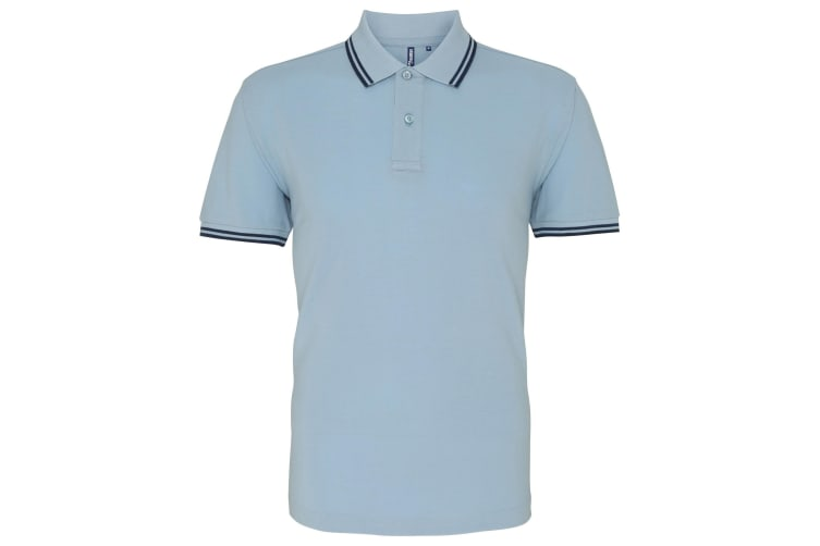 Asquith & Fox Mens Classic Fit Tipped Polo Shirt (Sky/ Navy) (2XL)