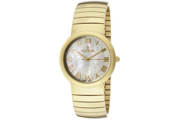Croton Men's Croton Textured White MOP Dial Gold Tone Ion Plated Stainless Steel (CROTON-CN307147YLMP)