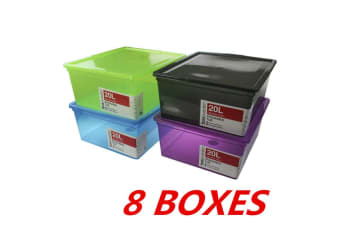 8 x 20L Multi Colour Stack-able Plastic Storage Boxes with Lid Box Tubs Tub Bins