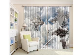 3D Spacecraft Explosion 388 Curtains Drapes, 264cmx213cm(WxH) 104''x 83''