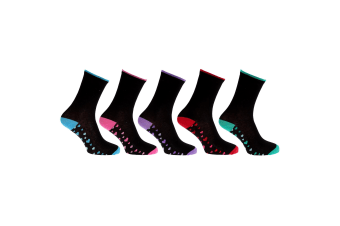 CottoniQue Womens/Ladies Coloured Patterned Socks (Pack Of 5) (Black/Assorted Coloured Hearts)