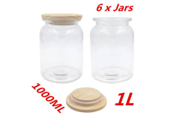6 x 1000ml Glass Canister Jar With Wooden Sealed Lid Airtight Jars Storage Kitchen